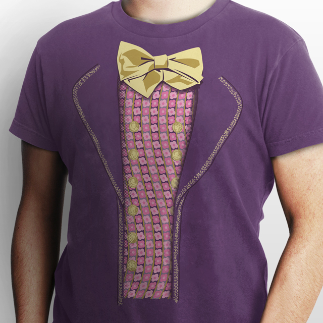 purple suit willy wonka costume t-shirt